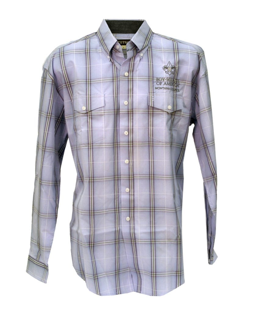 Stetson long sleeved button up blue purple green plaid for Purple plaid button up shirt