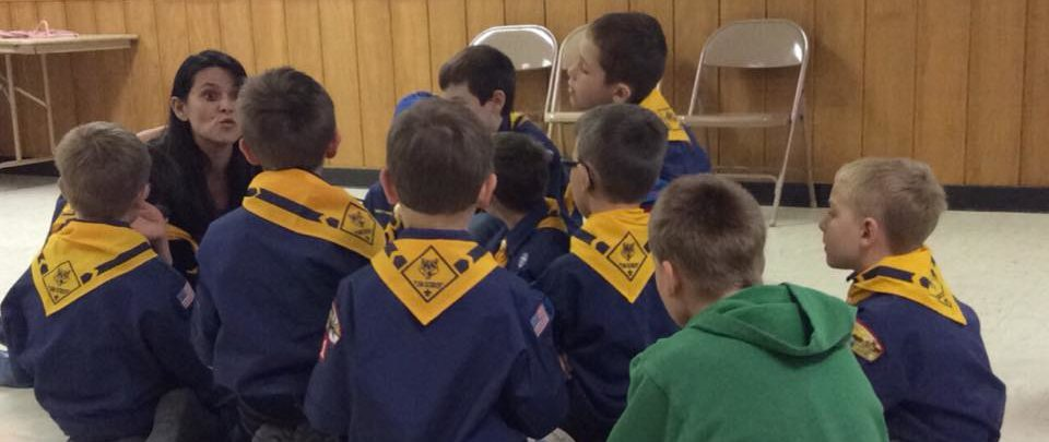 Pack 51's Wolf Den listens for instructions at a Den Meeting. Photo credit: Steve Dogiakos
