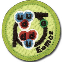 Nuclear Science merit badge, earned by Boy Scouts of America members after requirement completion. Green patch featuring molecular constructions and theory of relativity formula.