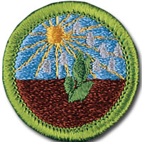 Plant Science merit badge, earned by Boy Scouts of America members after requirement completion. Patch featuring sun and plant in dirt.