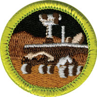 Robotics merit badge, earned by Boy Scouts of America members after requirement completion. Patch featuring lunar rover.