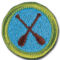 Canoeing merit badge for Boy Scouts, featuring pair of oars