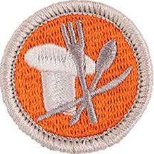Cooking merit badge for Boy Scouts, orange with chef hat