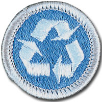 Environmental science merit badge for Boy Scouts, featuring recycling symbol