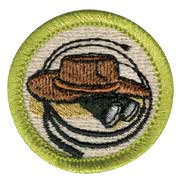 Exploration merit badge for Boy Scouts, featuring adventure gear like binoculars