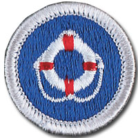 Lifesaving merit badge for Boy Scouts of America, with life preserver