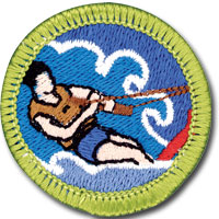 Water sports merit badge for Boy Scouts, featuring water ski