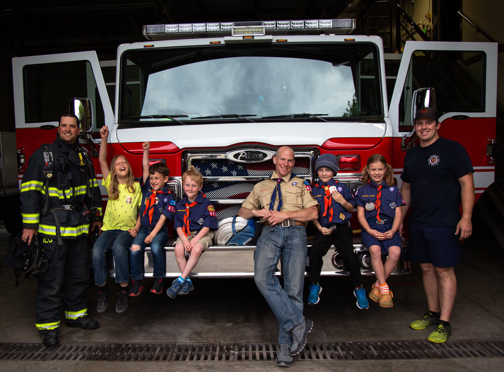 Photo Contest, Adult 1st place: Pack 4911 Tiger Den visiting the City of Missoula Fire Department. Eric Henderson, Pack 4911, Missoula. — in Missoula, MT.